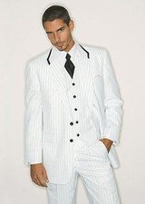 After Six White with Black Striped Shawl Tuxedo